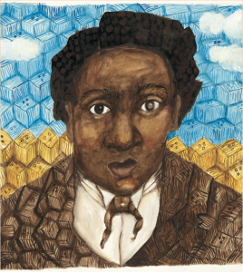 "Artwork from ""BOX: Henry Brown Mails Himself to Freedom"" by Carole Boston Weatherford"